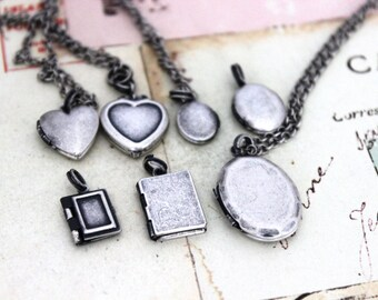 mini locket. necklace in silver ox choose your locket style