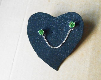 Double Cartilage Chain Green Emerald Crystal CZ Chainmaille - 925 Sterling Silver Earrings Ears cuff gift, non allergic, Can Chose Color