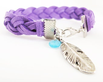 Double Braided Feather Charm Bracelet - Choose Your Color