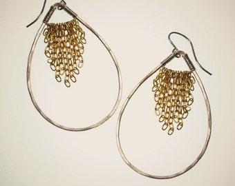 leonne teardrop earrings, mixed metal handmade teardrop earrings with gold fringe