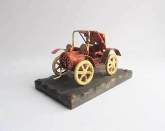 Vintage Car, Rustic Metal Car, Primitive Car Decor, Bar Decoration