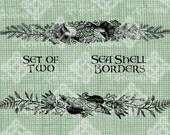Digital Download Seashells and Seaweed Set of 2 Beach Borders digi stamp Illustration, Digital Transfer, Iron On Transfer Sea Shells