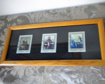 3 Polish Polska postage stamps framed 1968
