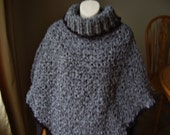 Crochet Grey Shades Soft Boucle Adult Poncho with Black  Trim