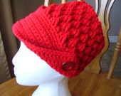 Crochet  Berry Red colour Peaked Hat, Accessory, Women, Teens, button on side