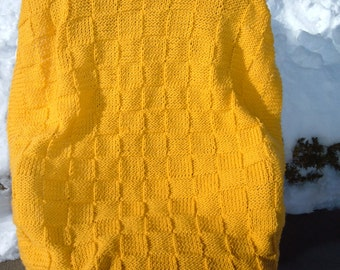 Super Sale - Sunflower Checkerboard Basket - 35 inch x 45 inch - Knitted Baby/Lap Blanket- FREE SHIPPING