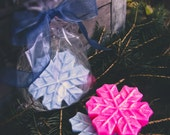 Sparkling Holiday Snowflake Soap {gift-ready in cello bag tied with a pretty ribbon} - choose Dazzling Pink, Ice Blue or Snow White