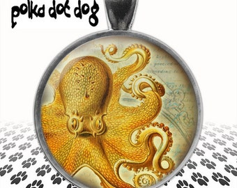 Armed -- Whimsical Octopus Large Glass-Covered Pendant