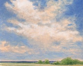 Landscape Painting Clouds Original Painting on Canvas 8x8 Fields Sky Summer