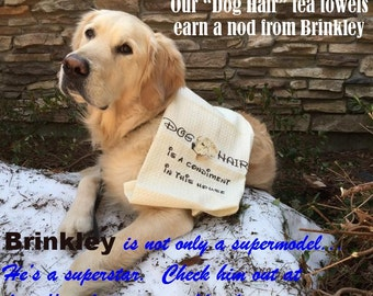 Embroidered Towel - Dog Hair is a Condiment - Tea Towel - Golden Retriever - Kitchen Towel - Many Breeds Available