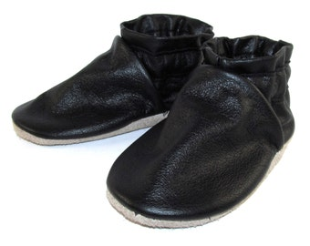 Soft Sole Black Leather Baby Shoes 12 to 18 Month Eco Friendly