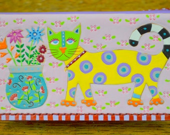 Checkbook with Polka Dotted Cat