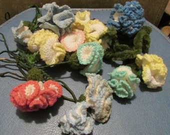 Fourteen of Grandma's Vintage Crochet Flowers