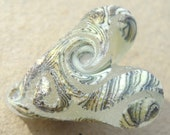 Primitive handmade Lampwork Glass bead heart focal- Serpent Moon- distressed primitive tribal stone textured in clear ivory and black
