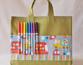 Coloring Tote Canvas Tote Crayon Bag READY To SHIP ARTOTE in All Around the Town