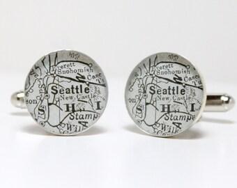Antique Map Cufflinks Seattle Washington USA