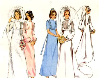 70s Wedding dress or 70s Bridesmaid dress vintage sewing pattern Style 4021 Bust 34