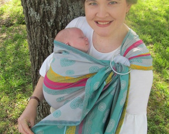 SALE - Ring Sling WCRS Mint Lace Wrap Conversion Ring sling other side Lenny Lamb -Pleated Shoulder - DVD/ baby shower gift, toddler carrier