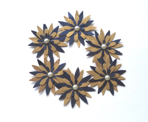 Handmade Paper Flower Embellishments, Scrapbook Supply, Card Embellishment, Blue and Gold with Pearl Gemstone