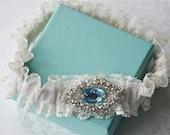 Wedding Garter Something Old, Something New, Something Blue, Robin's Egg Blue Jeweled Garter