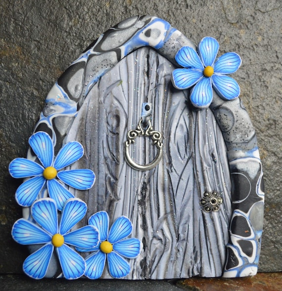 Blue marble miniature fairy door fairy garden fairy decor for Mini fairy door