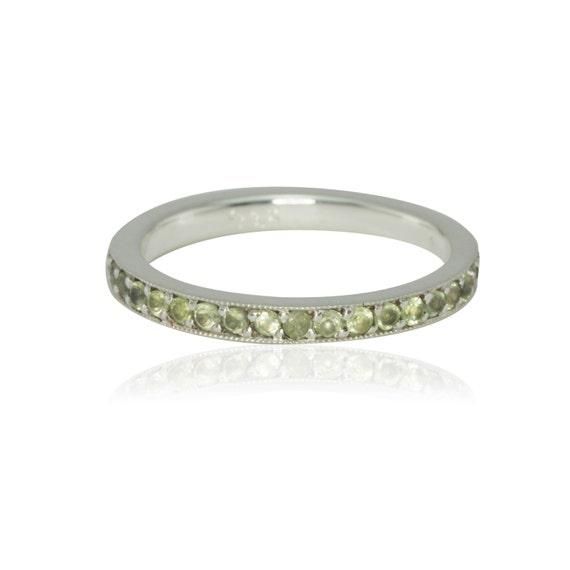 birthstone ring peridot eternity band in platinum august