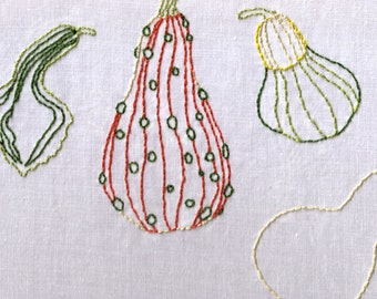 Gourds Hand Embroidery Pattern, PDF, Squash, Fall, Autumn, Halloween, Thanksgiving