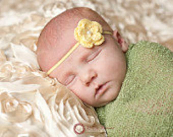 Light Yellow Crochet Flower Headband Infant Headband - Girls Hair Band - Headband