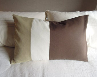 Tri-Colour Pillow, Hemp, Tencel, Cotton, Sage, Natural, Java, 16x24