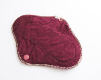 Cloth Mama Pad Pantyliner 8 inch - Burgundy Flannel FREE Shipping