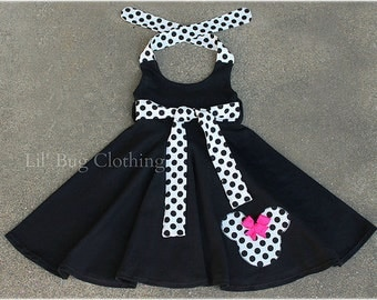 Minnie Mouse Polka Dot Dress, Minnie Mouse Birthday Party Dress, Black Knit Minnie Mouse Girl Dress, Minnie Mouse Outfit