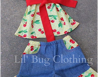 Custom Boutique Clothing Cherries Yellow Red Peasant Top And Denim Shorts Outfit