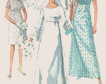 1960s Wedding Dress Simplicity 7084 Empire Waist Bell Sleeve Bridal or Bridesmaids Dress Vintage MOD Sewing Pattern Size 14 Bust 34 inches