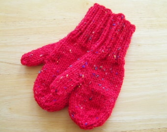 Child Wool Blend Mittens Small Hand Knit Red with Sprinkles