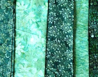 Batik Fabric 5 One yard Pieces Coordinated GREENS