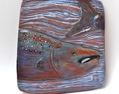 fish in blue waters hand carved ceramic art tile