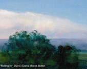 Original Miniature Oil Painting -- ROLLING IN -- landscape with tiny easel, by Diana Moses Botkin