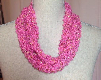 Hand Knit Cotton Infinity Scarf