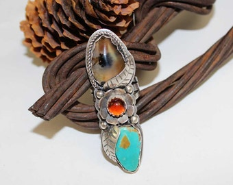 Rustic Bohemian Kingman Turquoise and Montaga Agate Stone Bezeled in Sterling Silver Ring Size 7, boho, gypsy