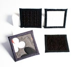 quilted coasters - whiskey black - ready to ship