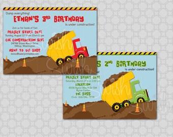 Dump Truck Birthday Invitation  - Construction Party -  Printable Invite - 5x7 digital file