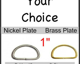 "SALE - 100 PIECES - 1"" - Split D Rings, 13 gauge - Metal, NON welded, Nickel Plate or Brass Plate"