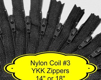 """10 ZIPPERS - 14"""" or 18"""" - YKK Nylon Zippers - 14 inch or 18 inch - Size 3 - BLACK - Closed End - Non-separating"""