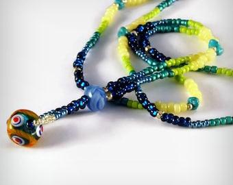 Rainbow Cools, Hanging Drop Graduated Bead necklace  Cool Spectrum