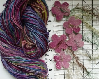Art yarn handspun SALE Dusky Garden 3.4 oz. baby alpaca suri with felted flowers