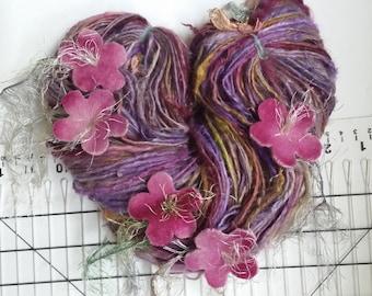 Art yarn handspun SALE Serenade 4.4 oz. baby alpaca suri with felted flowers