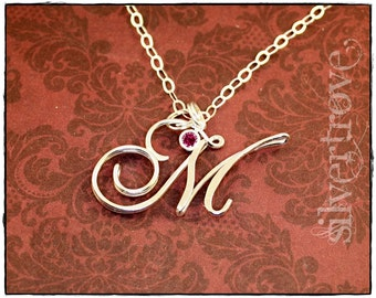 M Initial Necklace Sterling Silver Pendant Caligraphy Script Necklace With Chain Optional Birthstone Charm Cursive Initial Necklace IN STOCK