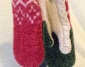 Recycled 100% wool women's mittens