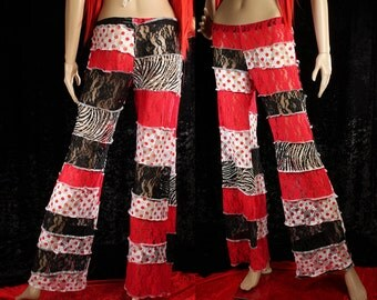 SALE. Wide Leg Lace Pants, Red black white patchwork pants, Carnival Performer, Festival Fashion, Belly Dance. polka dot, zebra print pants