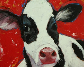 Cow painting 940 20x20 inch animal original oil painting by Roz